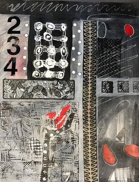 2c Elizabeth Moore - Consecutive Numbers - mixed media