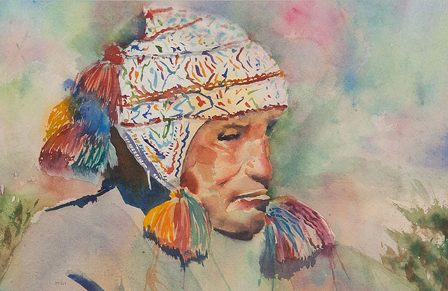 16c Melanie Harman - Brooding Shaman - watercolor