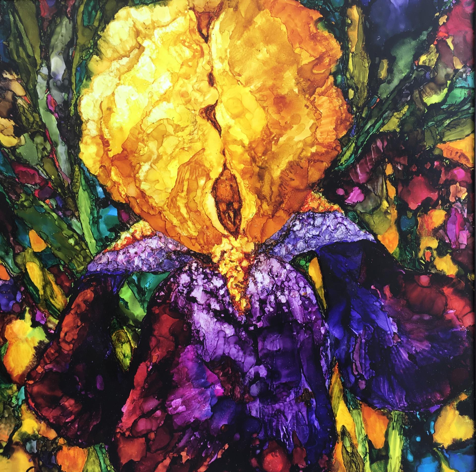 27a Linda Lee Gimby - Queen Iris - alcohol ink 24x24