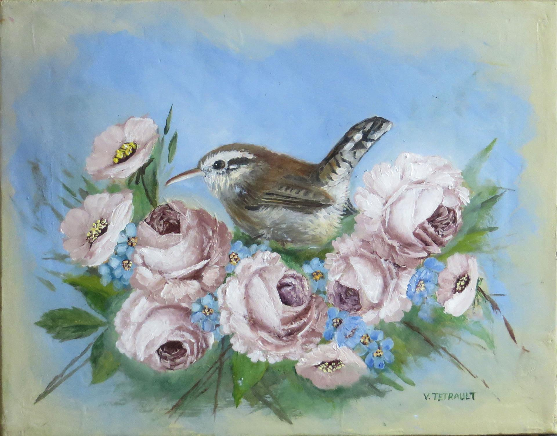 28b Velvet Tetrault - Bewicks Wren with Roses and Violets - acrylic