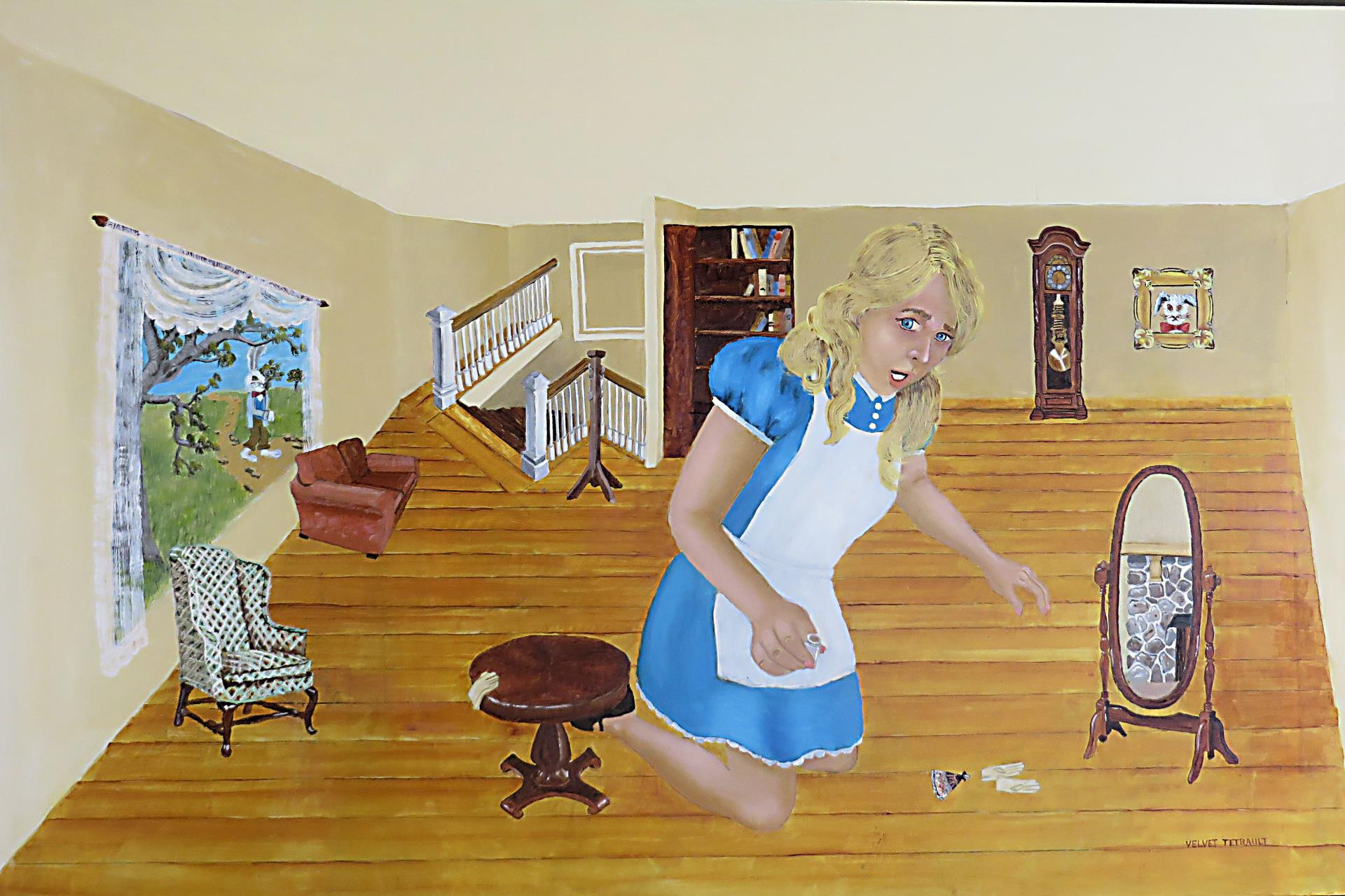 28c Velvet Tetrault - Alice Grows In White Rabbit House - oil