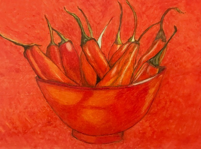 47b Ronnie Francis - Very Hot Chillies - colored pencil