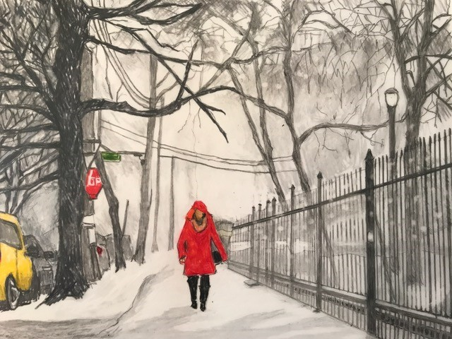 47c Ronnie Francis - Snowy Day Clinton Park - colored pencil
